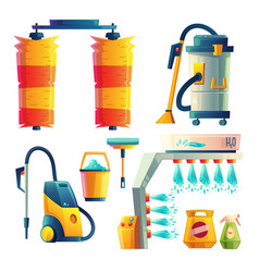 Cartoon car washing elements cleaning vector