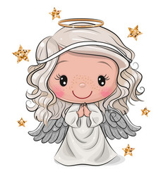cartoon christmas angel isolated on white vector image