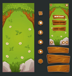 Cartoon forest mobile game background and cui vector