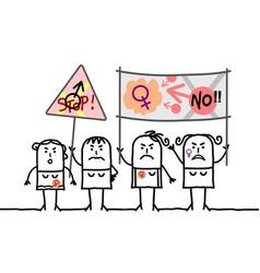 Cartoon protesting feminist women vector