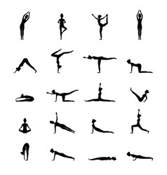 cartoon silhouette black woman yoga poses icons vector image