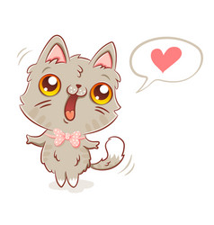 cat in kawaii style vector image