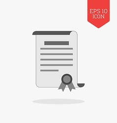 Certificate diploma icon paper award concept Flat vector image