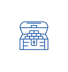 chest of moneytreasure line icon concept chest vector image
