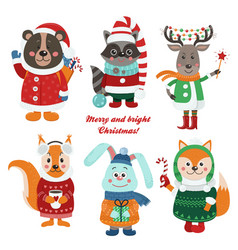 christmas set with isolated cute forest animals vector image