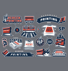 Collection colorful serigraphy elements vector