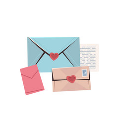 colorful envelopes with hearts love letters vector image