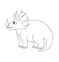 colorless funny cartoon triceratops vector image