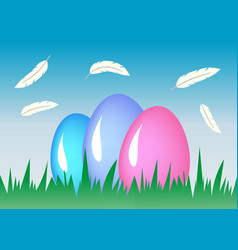 composition easter eggs holiday background vector image