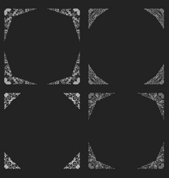 Curved stone mosaic page border design set vector