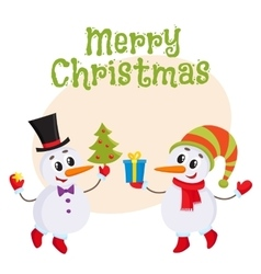 Cute and funny little snowman holding a gift box vector