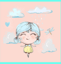 Cute happy girl flying under rain in clouds and vector