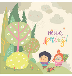 cute kids running in spring forest hello spring vector image