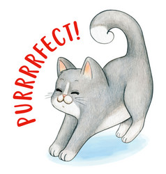 Cute watercolor gray kitten stretching purrfect vector