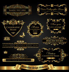 Dark gold-framed decorative design elements vector