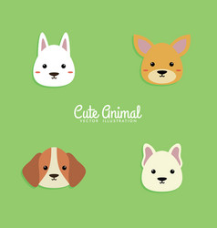 dog cartoon faces vector image