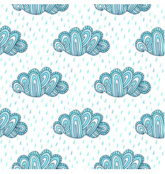 Doodle clouds hand drawn seamless pattern funny vector