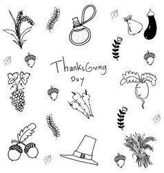 Doodle vegetable element thanksgiving vector