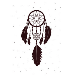 Dreamcatcher with feathers ethnic art with native vector