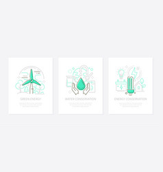 eco lifestyle - line design style banners vector image