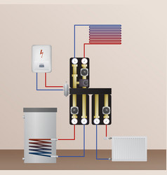 Electrical boiler in the heating system vector