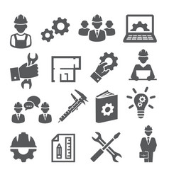 engineering icons set on white background vector image