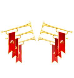 fanfare triumph - crossed vintage trumpets vector image