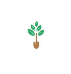 farming plants tree trunk tool logo design vector image