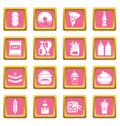 Fast food icons set pink square vector