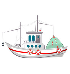 fishing boat icon travel vessel on sea ocean vector image