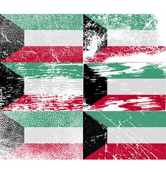 Flag of Kuwait with old texture vector image
