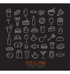 Flat food icons black vector