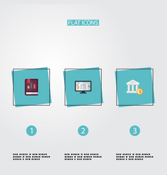 flat icons book bank accounting system and other vector image