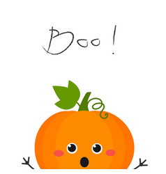 funny cartoon pumpkin peeking out scary vector image