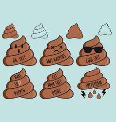 Funny poop emojis shit emoticons set vector