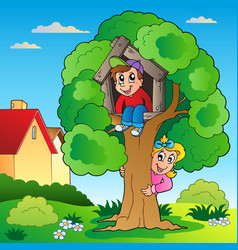 garden with two kids and tree vector image