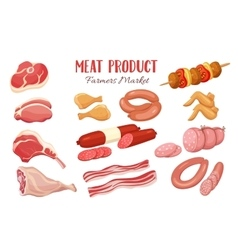 Gastronomic meat products in cartoon style vector image