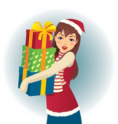 girl in santa hat with gifts in hand vector image