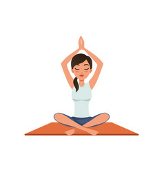 girl sitting in a lotus position with her hands up vector image
