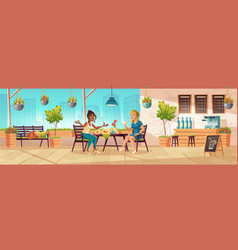 Girls seating on cafe terrace or balcony vector