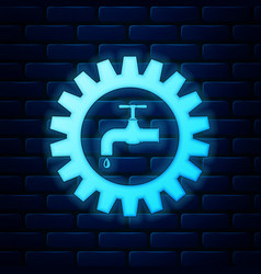 Glowing neon gearwheel with tap icon isolated on vector