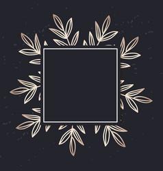 Golden frame pattern art leaves elegant vector