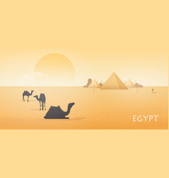 Gorgeous egypt desert landscape with silhouettes vector