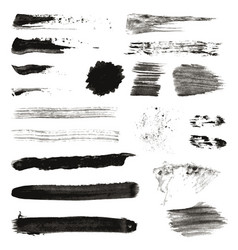 grunge black rough brush strokes set set black vector image