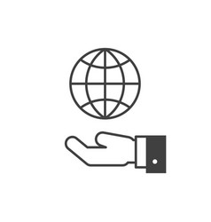 hand hold globe icon vector image