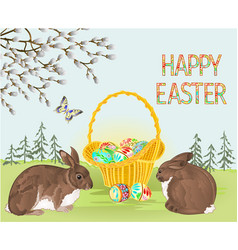 happy easter spring landscape forest rabbits vector image