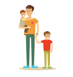 happy father and sons vector image
