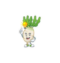 Have an idea cute gesture daikon on a cartoon vector