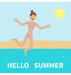 Hello summer Woman wearing swimsuit jumping Sun vector image