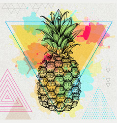 Hipster realistic tropic fruit pineapple vector
